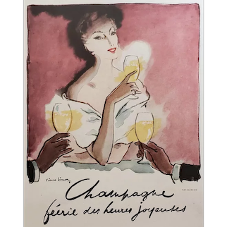 Mid-Century 1948 Matted Advertisement Print-Champagne