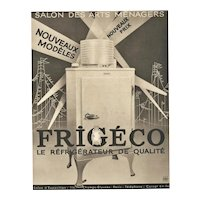 1934 Matted Art Deco Refrigerator Advertisement Print