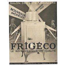 1934 Matted Art Deco Refrigerator Advertisement Print