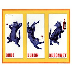 Matted Vintage French Dubonnet Alcohol Print for cat lover!