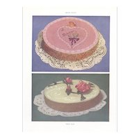 Vintage 1950 Mid-Century Cake Lithograph