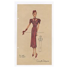 1936' Vintage Art Deco Fashion Design Lithograph