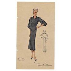 1936' Vintage Art Deco Fashion Design Lithograph
