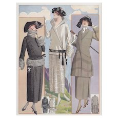 PAIR- Matted Art Deco 1923 French Vintage Fashion Lithographs