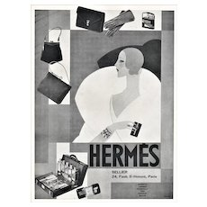 Matted 1929 Art Deco Hermés Advertisement Print for Luxury Products