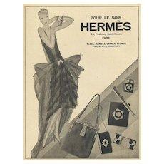 Matted Original Art Deco HERMES French Vintage Fashion Advertisement Print