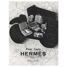 Matted Vintage Art Deco Hermes Print -Travel by Car