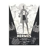 Matted Art Deco Vintage Hermes Print- Beach Fashion