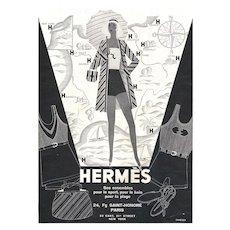 Matted Art Deco Vintage Hermes Print- Beach Fashion