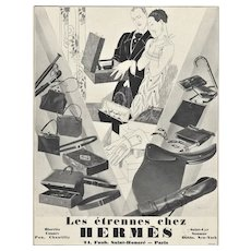 Matted Art Deco 1926 Hermes Advertisement Print