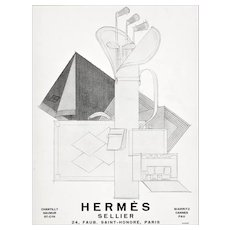 Matted RARE Art Deco 1928 French Hermes Advertisement Print-GOLF
