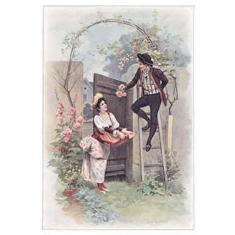 1904 Chromolithograph Print of Young Love