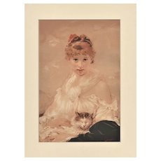 Matted 1880s Chromolithograph-Woman with her CAT