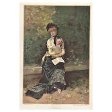 C1880s Vintage Chromolithograph of Woman in a Park Reading