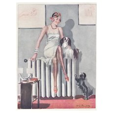 Matted Art Deco Print Semi-Nude in Lingerie with Dogs