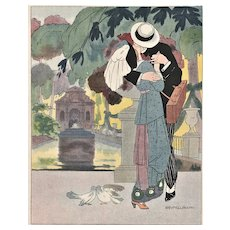 Matted Vintage 1912 French Illustrated Print-Lovers