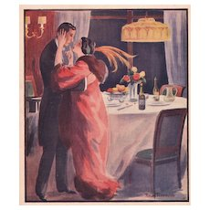 Matted 1913 French Illustration Print-Lovers in Love