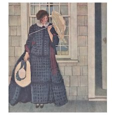 Matted 1912 Vintage French Print-Woman with Parasol