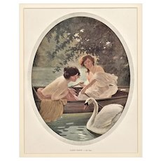 Matted 1908 French Illustration Print Women with Swans