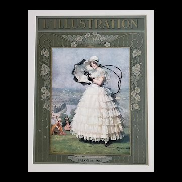 Matted Original 1923 French Pretty Woman Lithograph