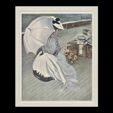 Matted 1901 Belle Epoch Lithograph of Woman Yachting-Helleu