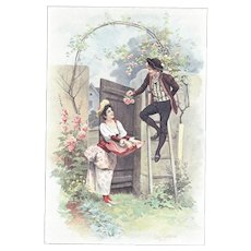 Antique French Chromolithograph-1894-Romantic Lovers & Roses