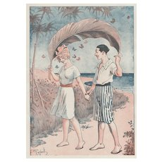 Matted Illustrated Print 1919 -YOUNG LOVE