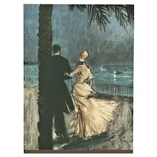 Matted Mid-Century 1947 Print-Romantic Lovers by Gruau