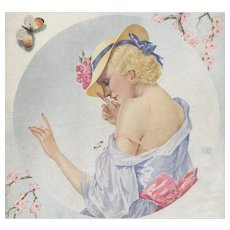 Matted 1934 French Illustrated Print-Woman with Butterfly