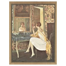 Matted 1926 French Print-Woman at Mirror