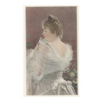 1890 French Story Illustration Print-Pretty Woman and Bird