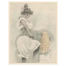 French Art Nouveau Chromolithograph-Woman in her Corset-Boutet