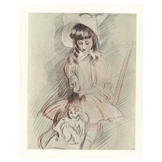1906 Lithograph of Child with Doll-Paul Helleu