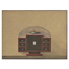 Original French Art Deco 1930's Furniture Design-Gouache