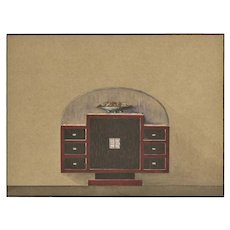 Original French Art Deco 1930's Furniture Design-Gouache