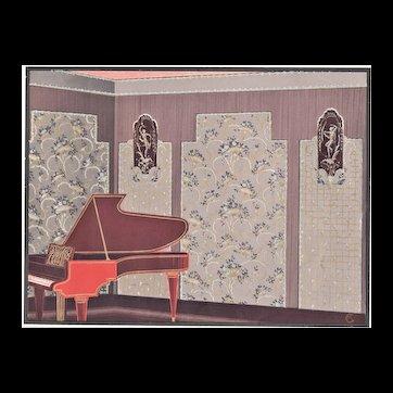 Matted 1920's French Art Deco Interior Design-Music Room Piano