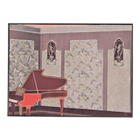 Matted 1920's French Art Deco Interior Design-Music Room Piano