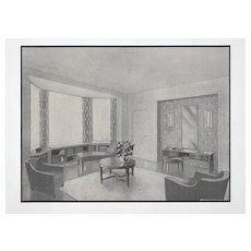 1940 French Modern Interior Design Lithograph-Salon