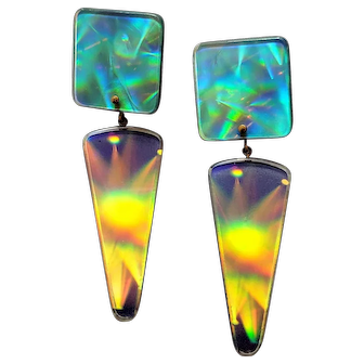 Vintage Artisanal 1960s Pop Art Hologram Earrings-FUN!