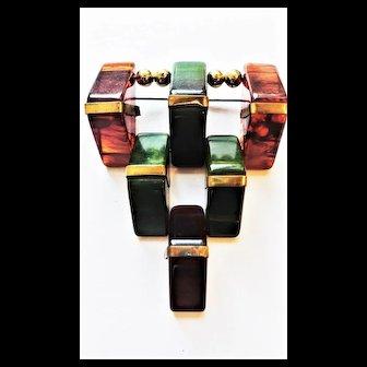 RARE Vintage Marbelized Bakelite & Brass Pin