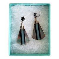 RARE Art Deco Style French Galalith Bakelite Earrings