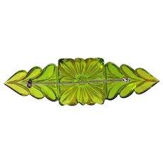 Unusual Lime Green Prystal Carved Bakelite Pin