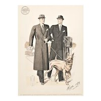 1937 Matted French Men's Tailoring Lithograph, Men's Suit, Overcoat & DOG