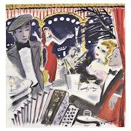 Mid-century French Jazz club print