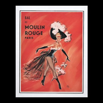Matted Mid-Century Moulin Rouge Entertainment Print