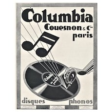 Matted Original 1929 French Advertising Print for Music Lovers