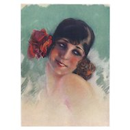 Original Vintage French 1920 Art Deco print of erotic woman