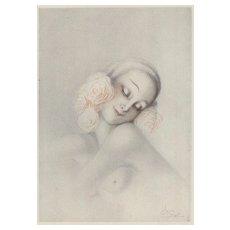 Original French Art Deco Semi-nude  Print