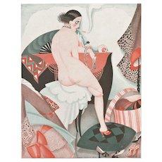 Original Art Deco Print -Nude for Year of Women!