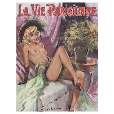 Matted Mid-Century Pin-Up Style French Nude Print